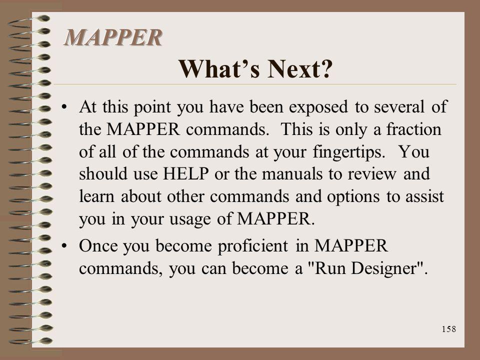 MAPPER What's Next