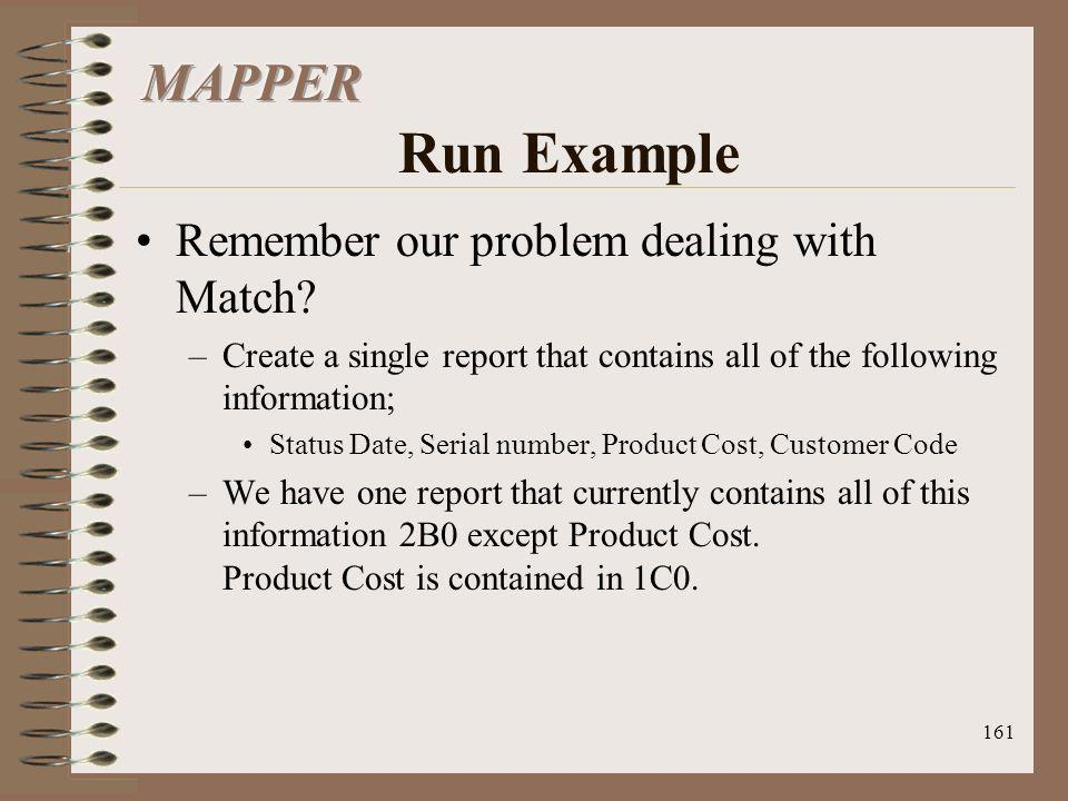 MAPPER Run Example Remember our problem dealing with Match
