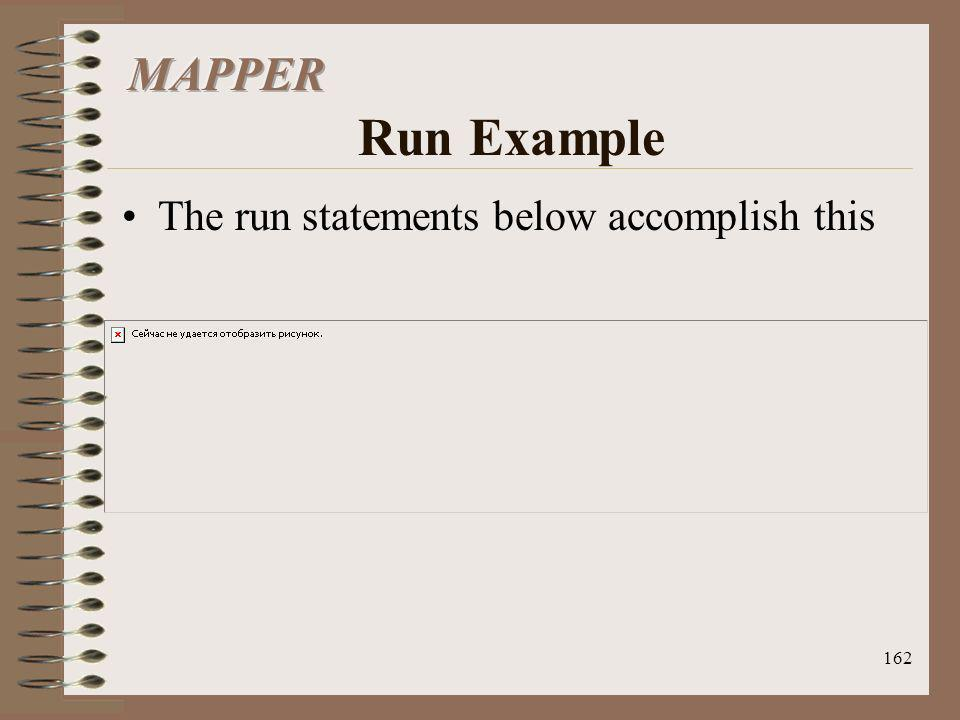MAPPER Run Example The run statements below accomplish this