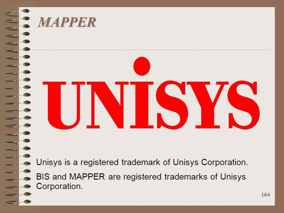 MAPPER Unisys is a registered trademark of Unisys Corporation.