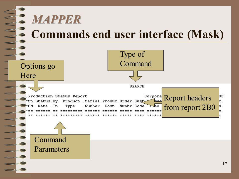 MAPPER Commands end user interface (Mask)