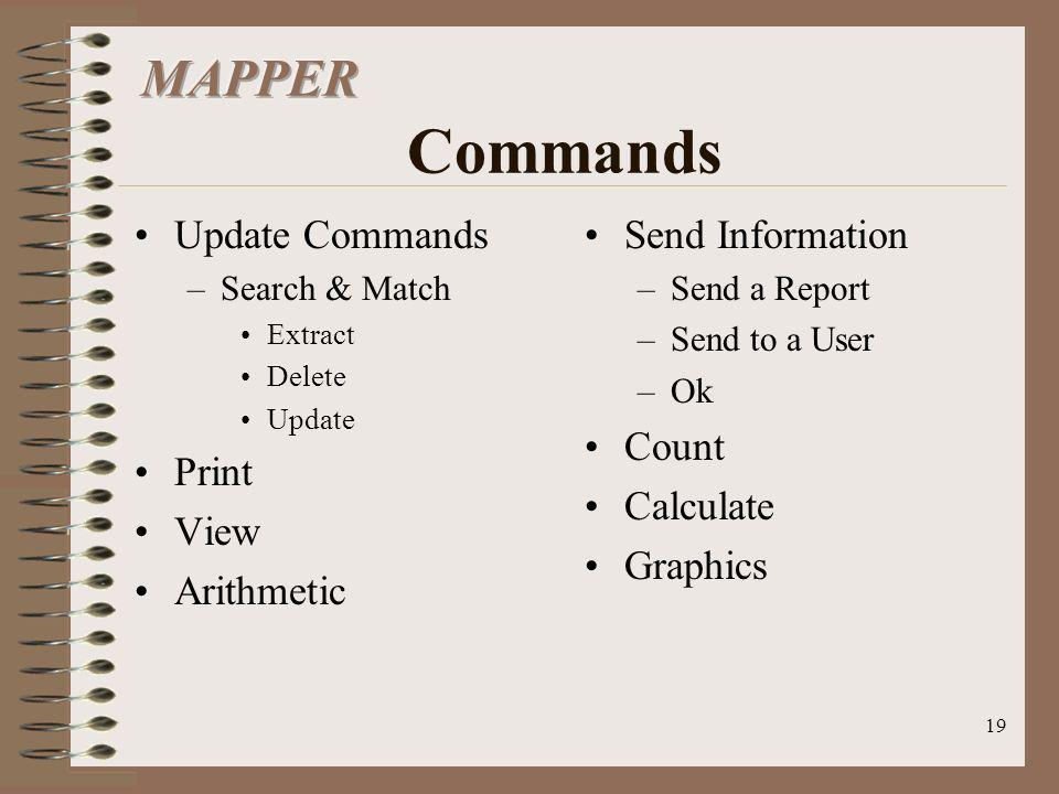 MAPPER Commands Update Commands Print View Arithmetic Send Information