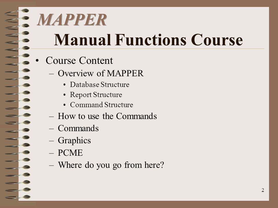 MAPPER Manual Functions Course