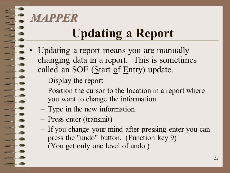 MAPPER Updating a Report