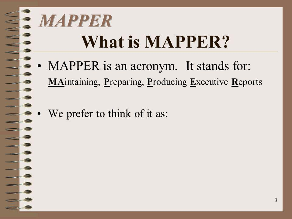 MAPPER What is MAPPER MAPPER is an acronym. It stands for: