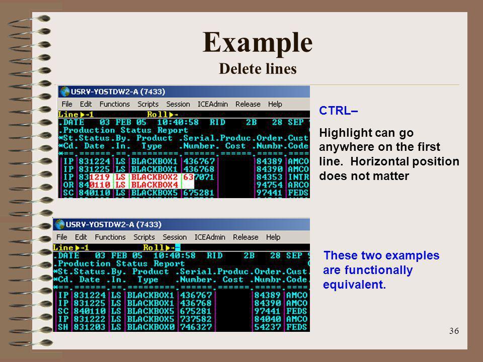 Example Delete lines CTRL–