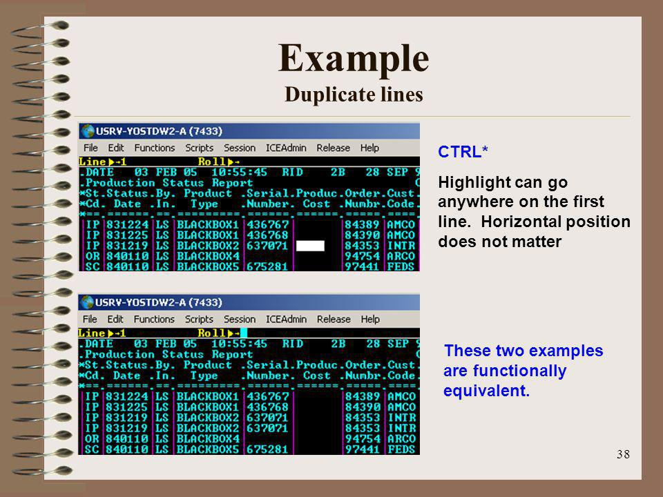 Example Duplicate lines