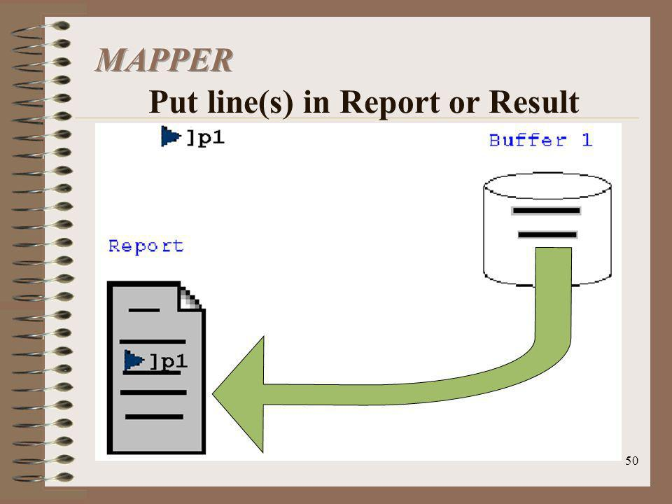 MAPPER Put line(s) in Report or Result