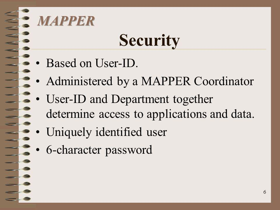 MAPPER Security Based on User-ID. Administered by a MAPPER Coordinator