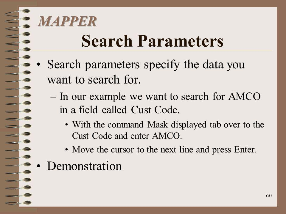 MAPPER Search Parameters