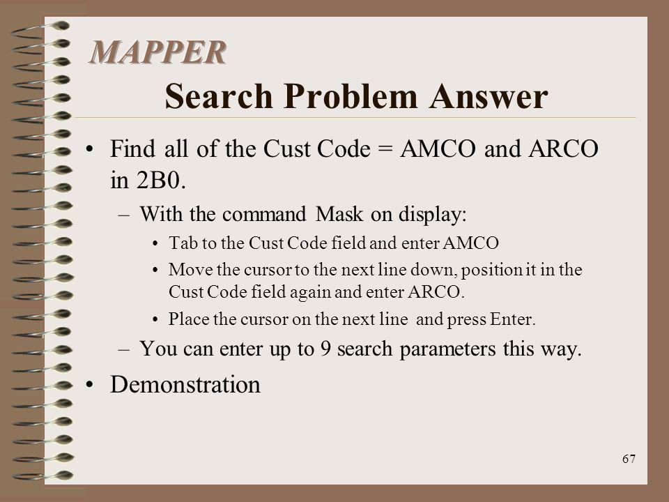 MAPPER Search Problem Answer