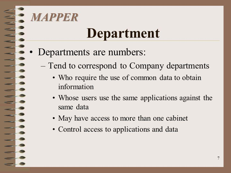 MAPPER Department Departments are numbers: