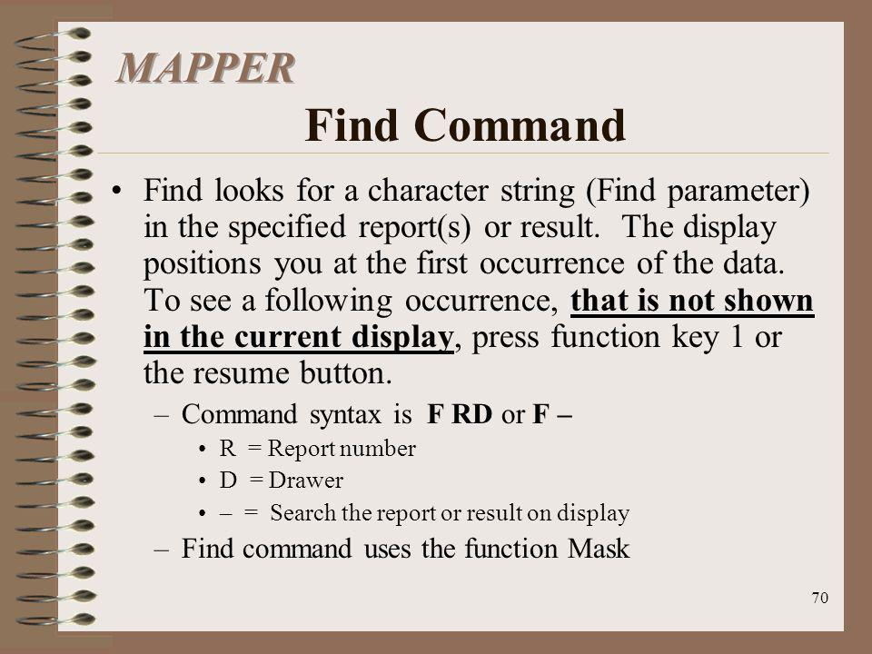 MAPPER Find Command
