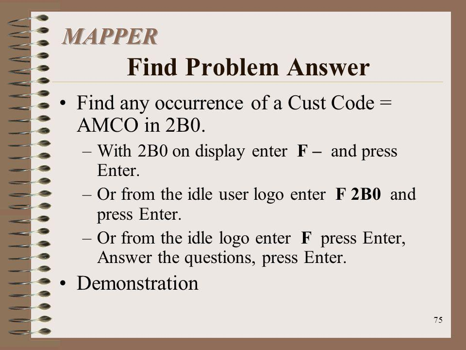 MAPPER Find Problem Answer