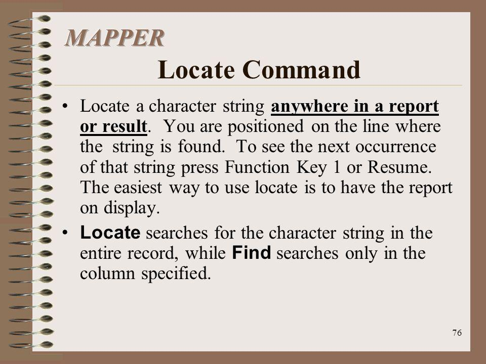 MAPPER Locate Command