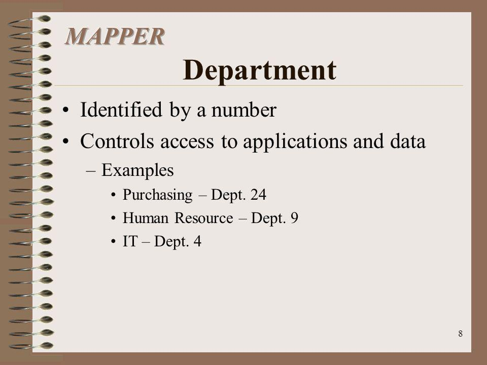 MAPPER Department Identified by a number