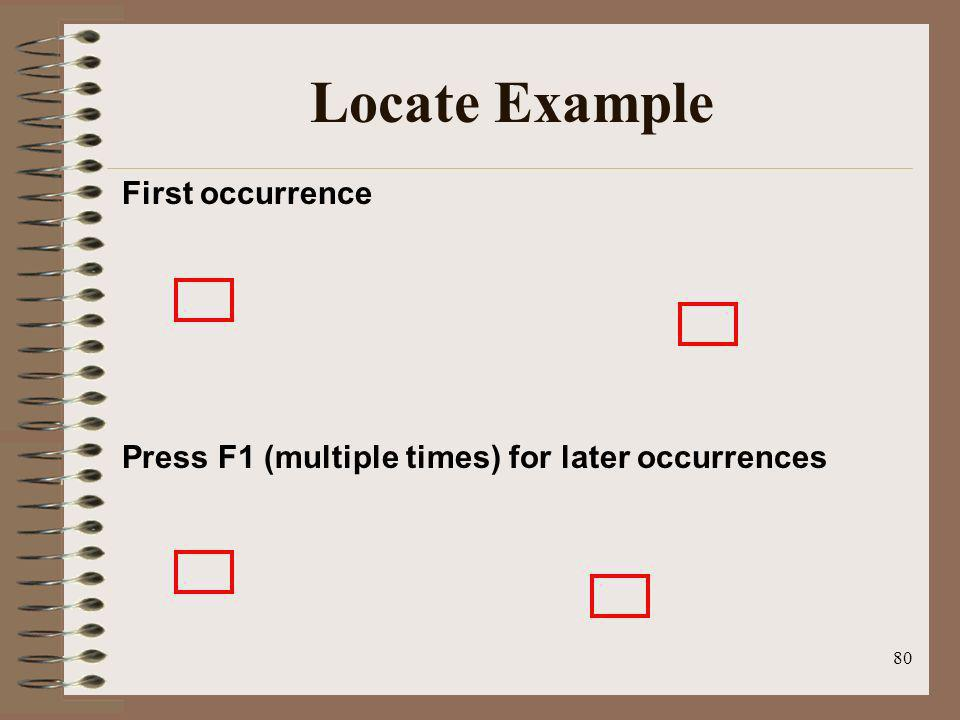 Locate Example First occurrence