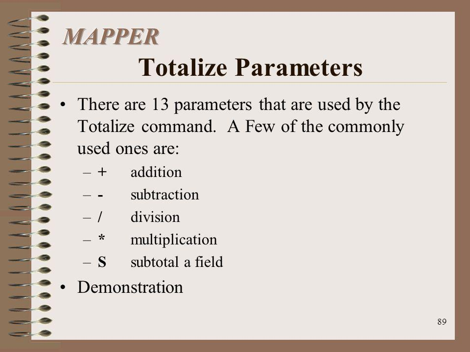 MAPPER Totalize Parameters