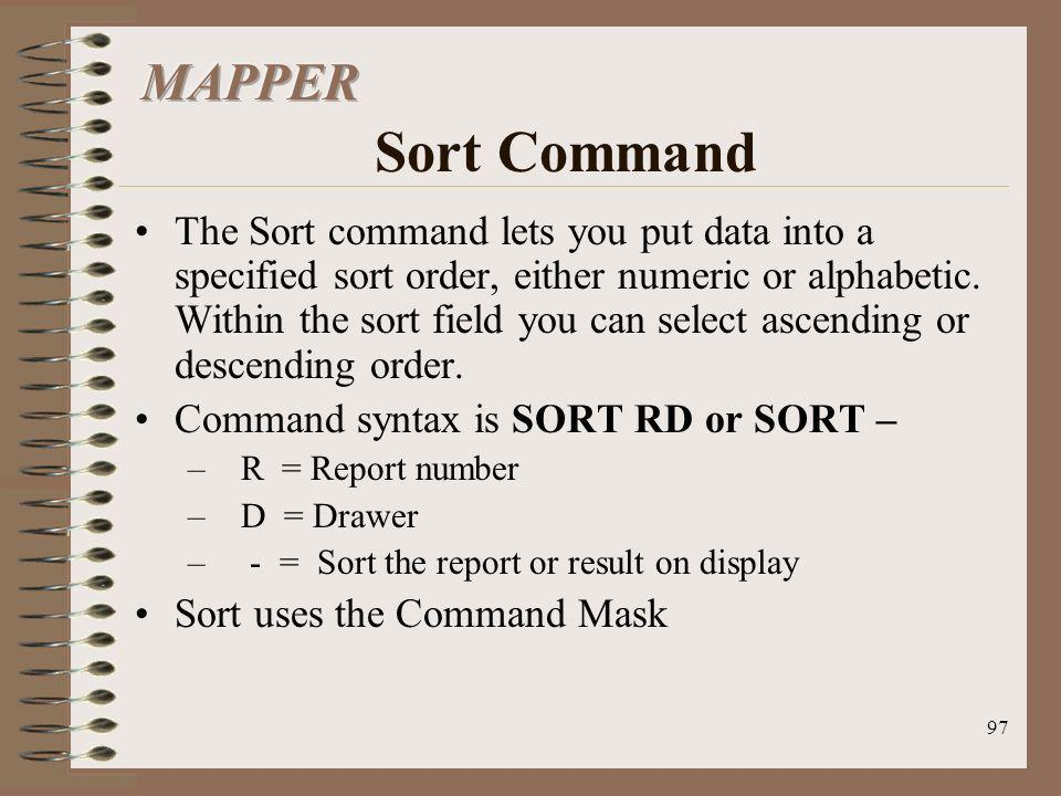 MAPPER Sort Command