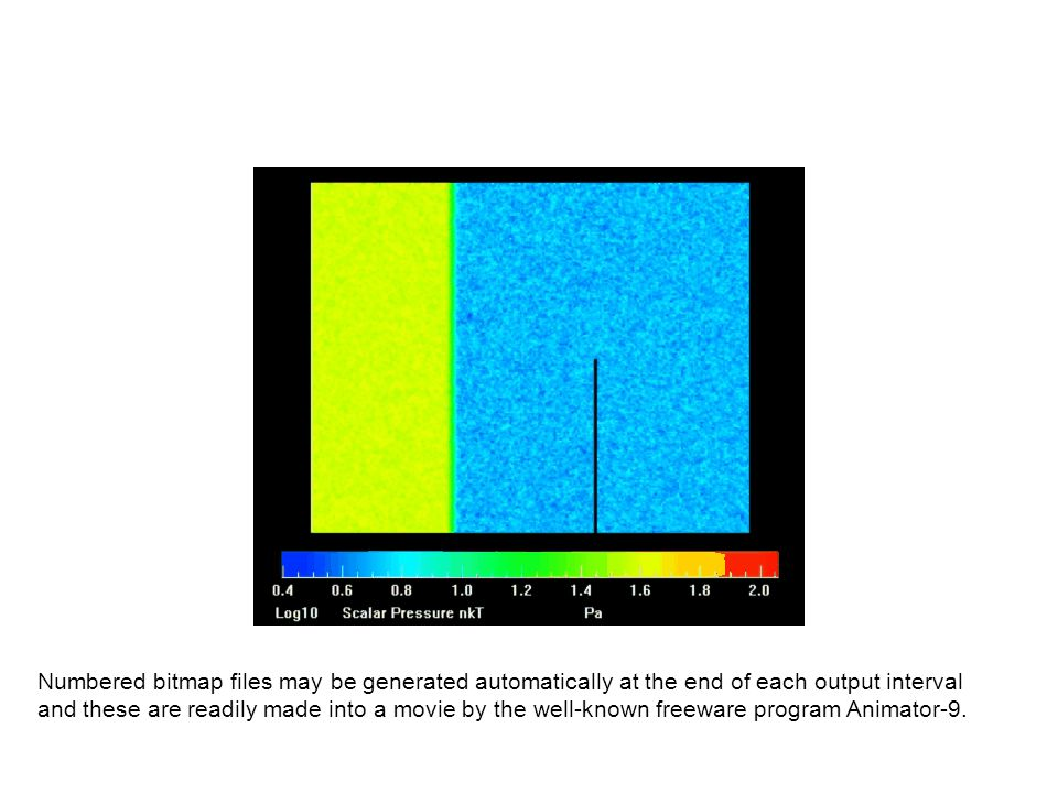 Numbered bitmap files may be generated automatically at the end of each output interval and these are readily made into a movie by the well-known freeware program Animator-9.