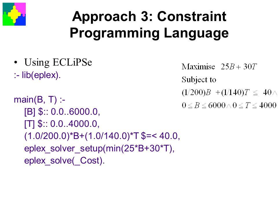 Approach 3: Constraint Programming Language
