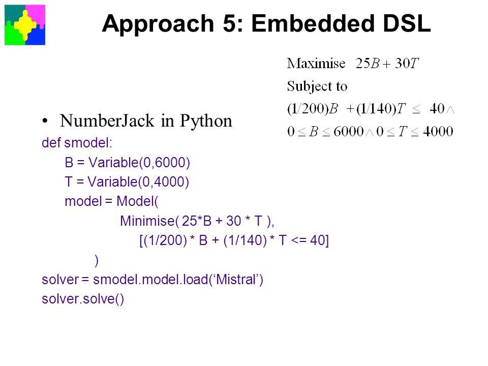 Approach 5: Embedded DSL