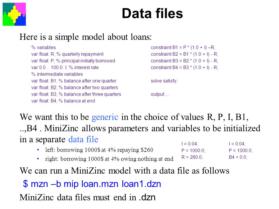 Data files Here is a simple model about loans: