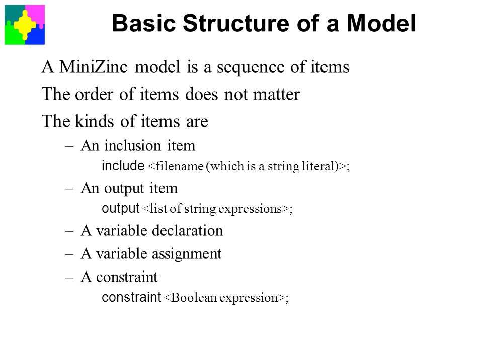 Basic Structure of a Model