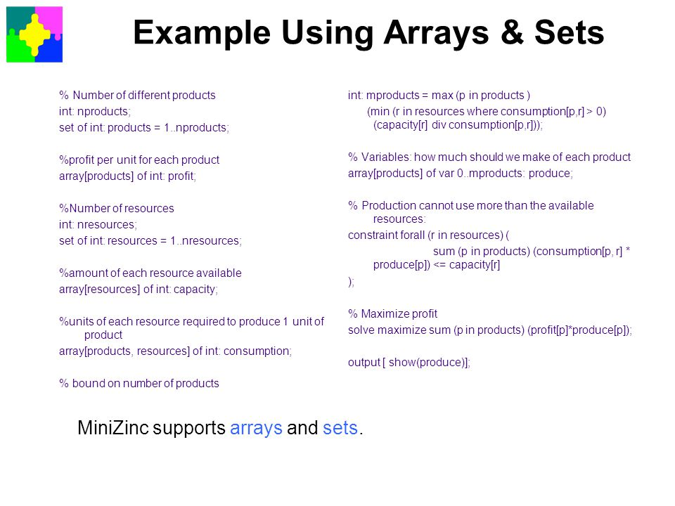 Example Using Arrays & Sets