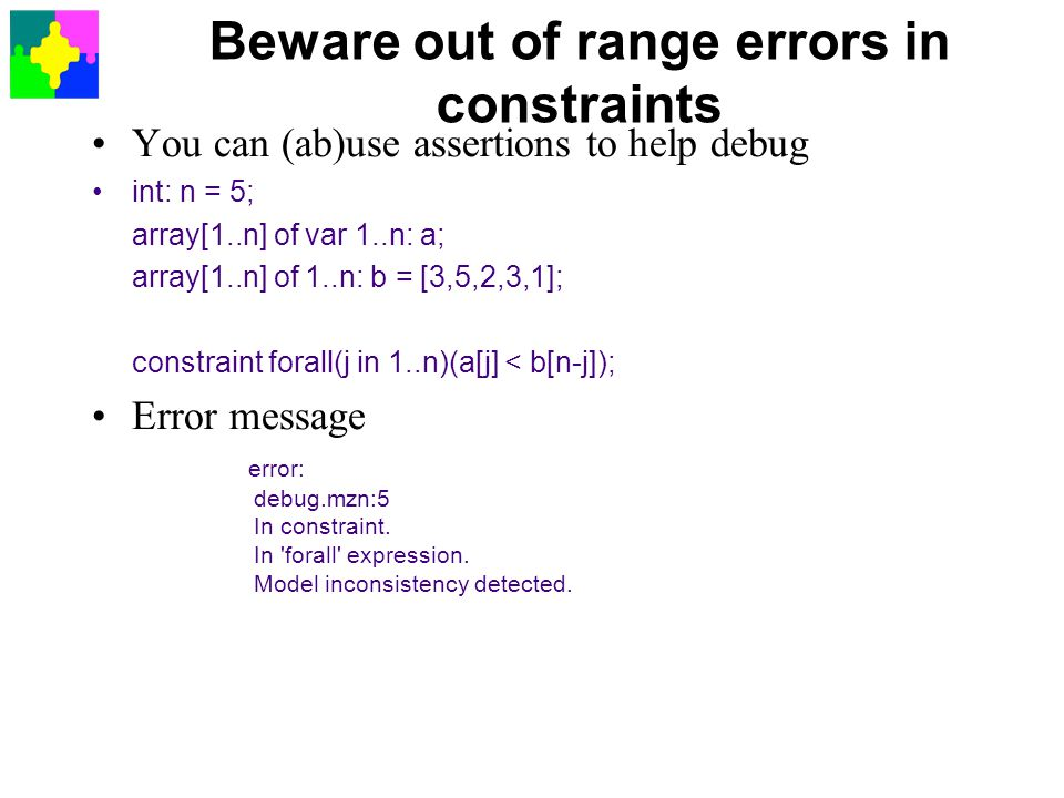 Beware out of range errors in constraints
