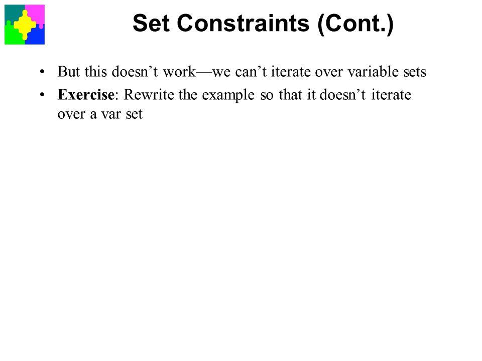Set Constraints (Cont.)