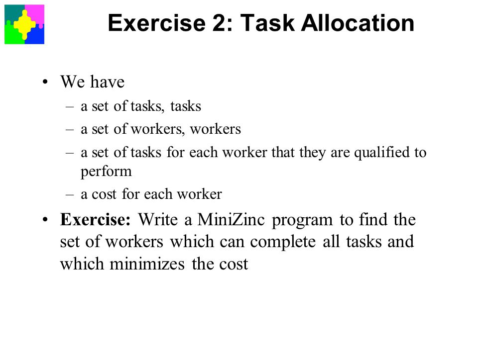 Exercise 2: Task Allocation