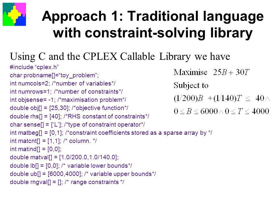 Approach 1: Traditional language with constraint-solving library