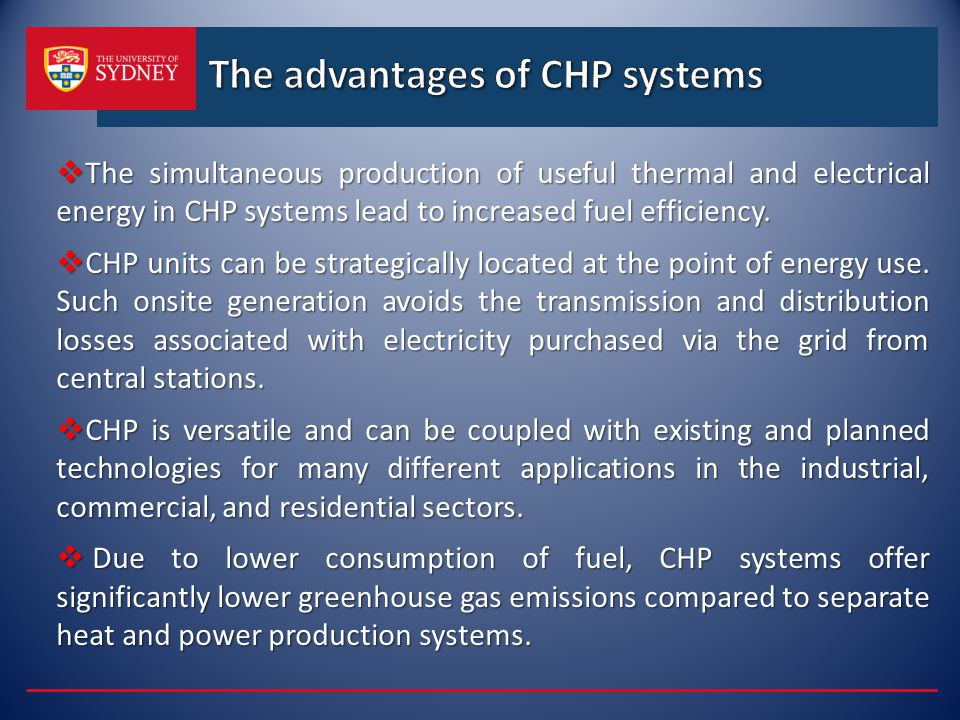 The advantages of CHP systems