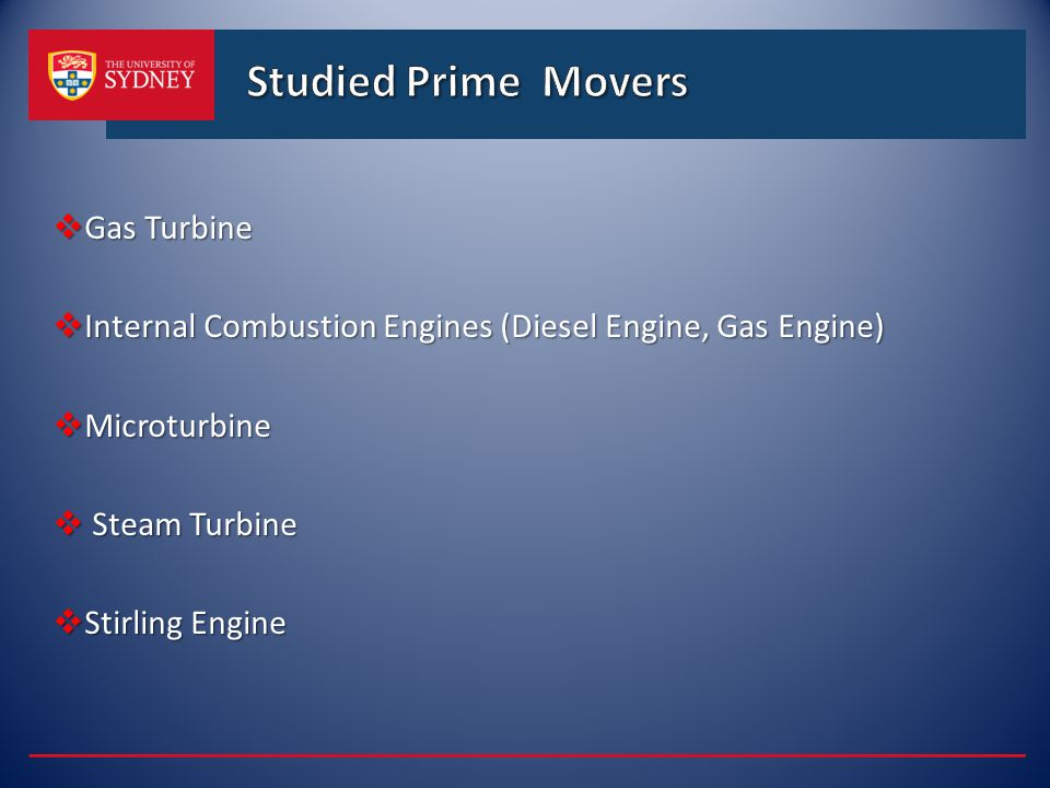 Studied Prime Movers Gas Turbine
