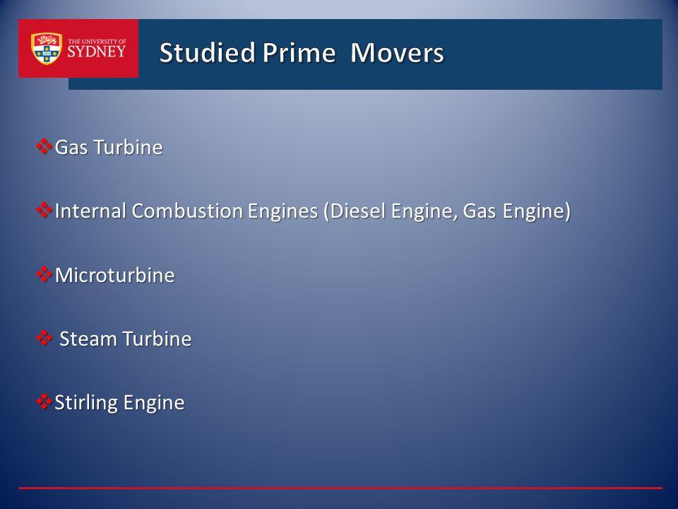 Studied Prime Movers Gas Turbine