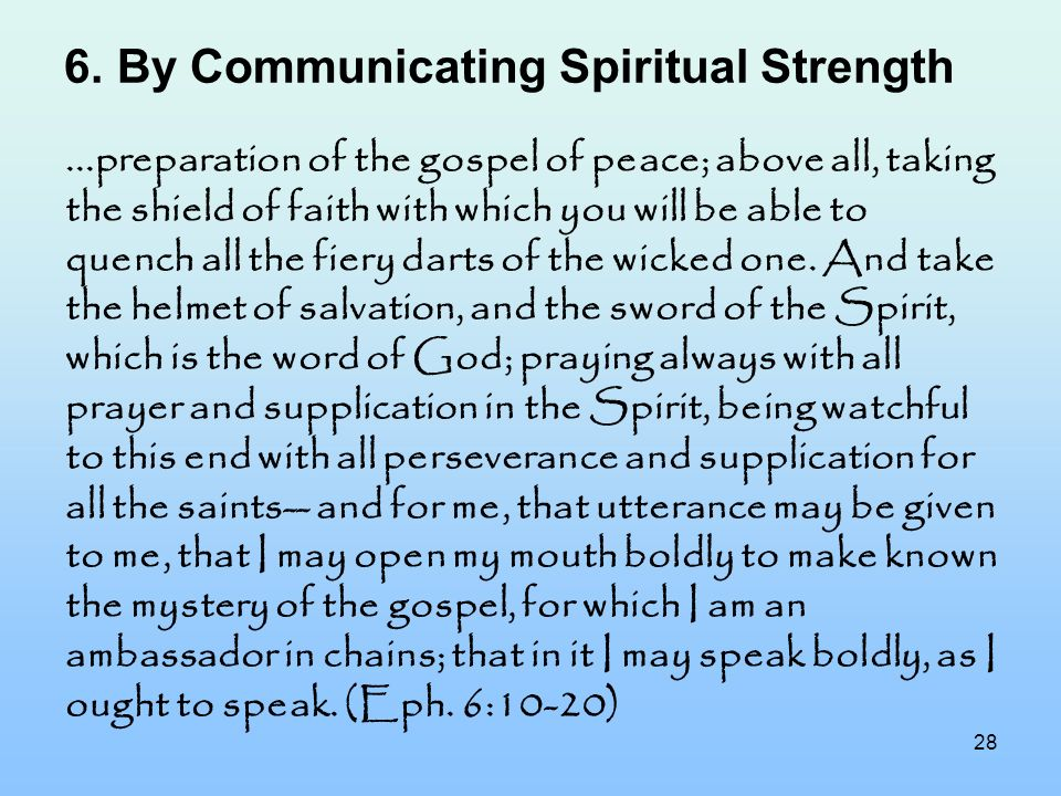 By Communicating Spiritual Strength
