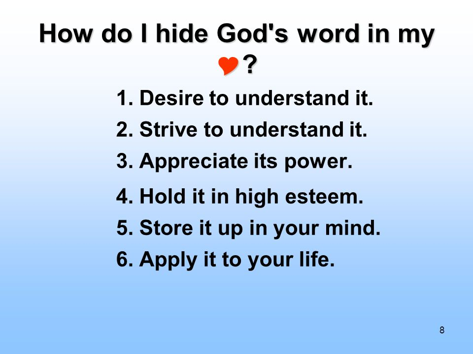How do I hide God s word in my 