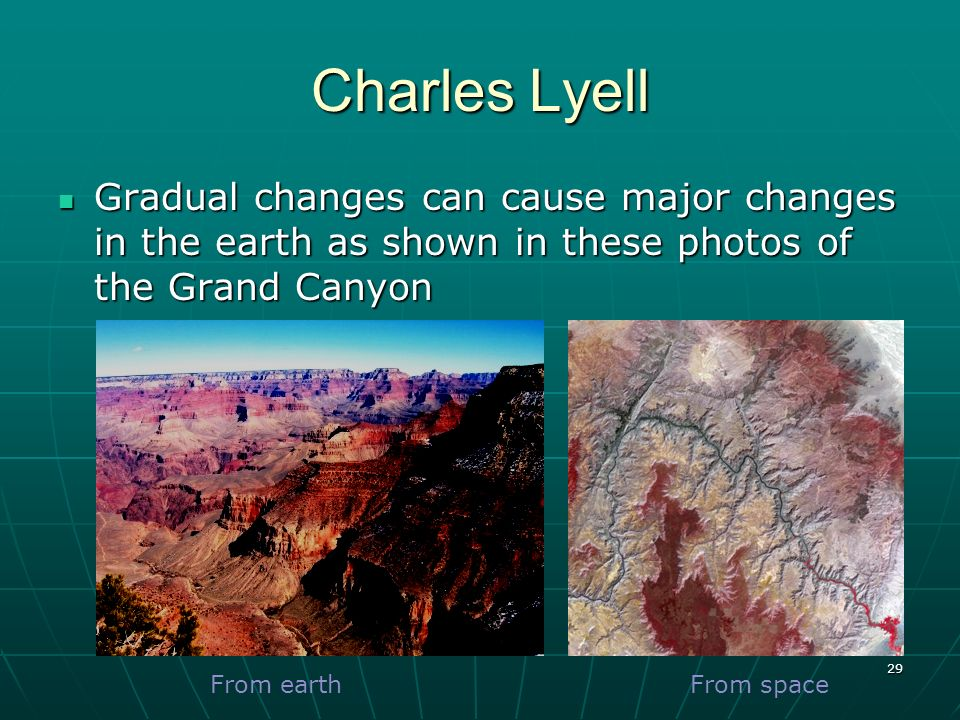 Charles Lyell Gradual changes can cause major changes in the earth as shown in these photos of the Grand Canyon.
