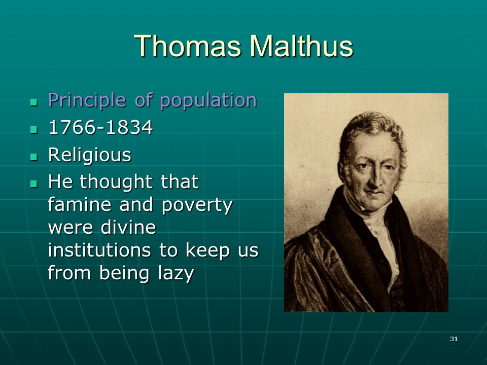 Thomas Malthus Principle of population 1766-1834 Religious