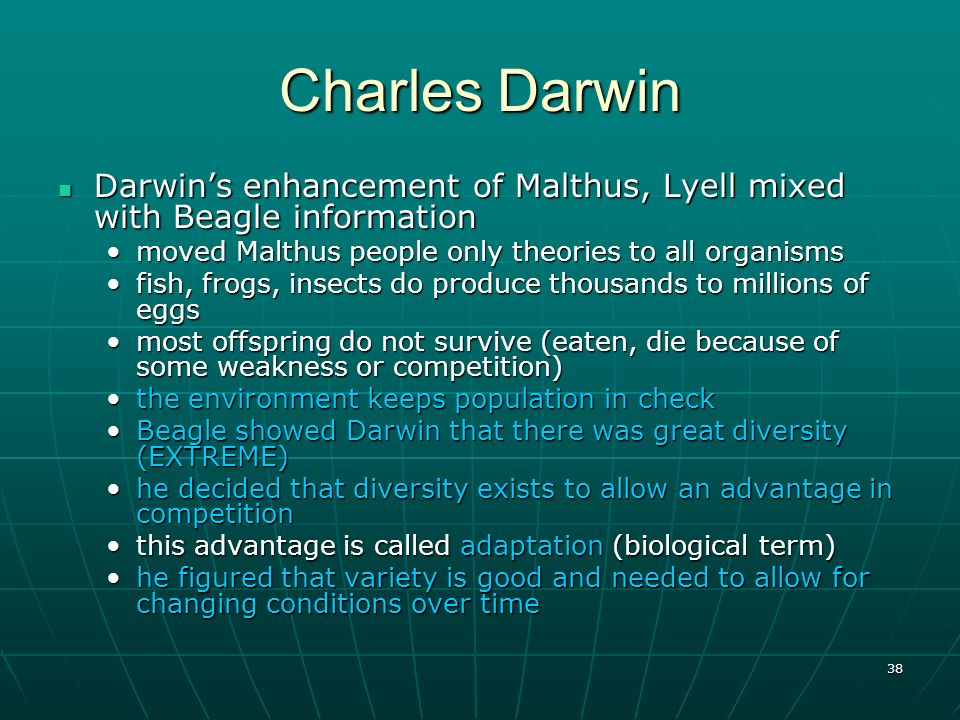 Charles Darwin Darwin's enhancement of Malthus, Lyell mixed with Beagle information. moved Malthus people only theories to all organisms.