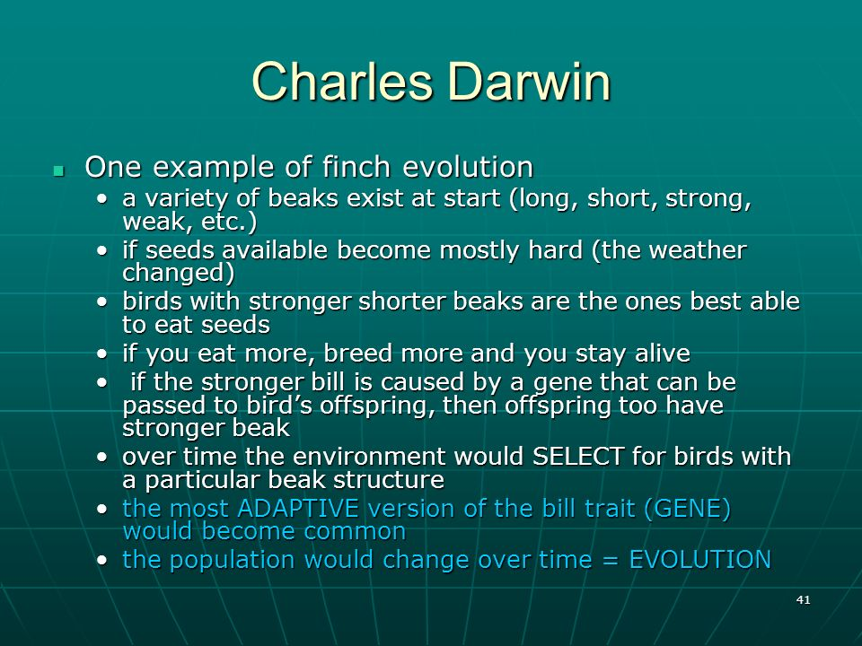 Charles Darwin One example of finch evolution