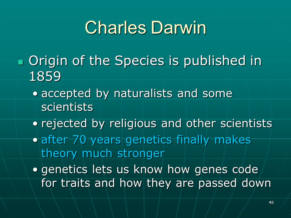 Charles Darwin Origin of the Species is published in 1859