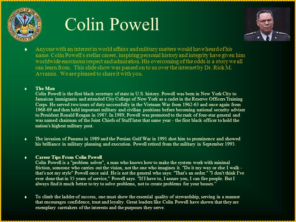 """Colin Powell On Leadership"" Comments After Each Of Colin"