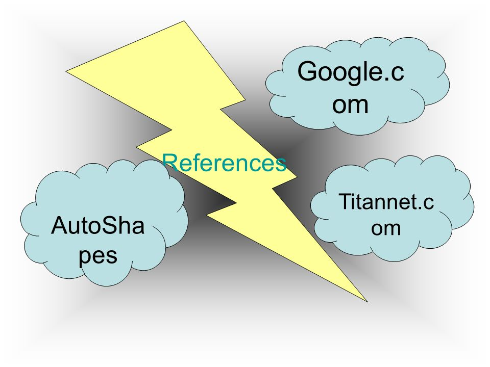References Google.com Titannet.com AutoShapes