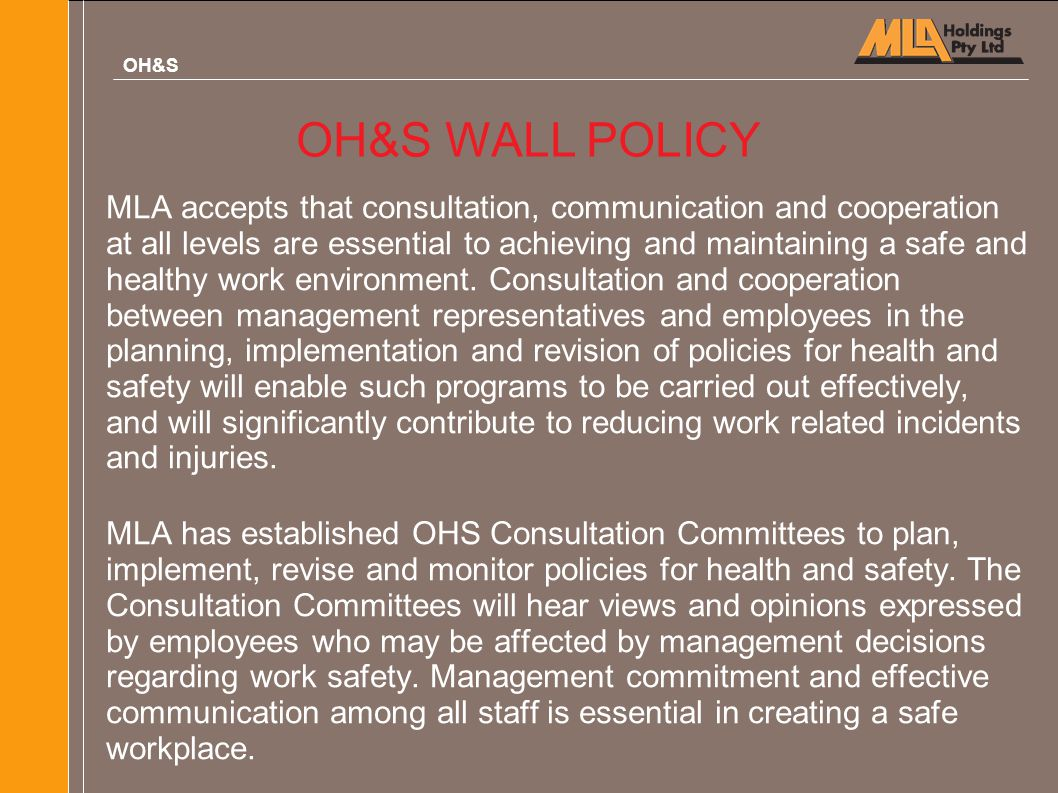 OH&S OH&S WALL POLICY.