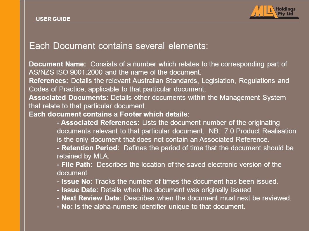Each Document contains several elements: