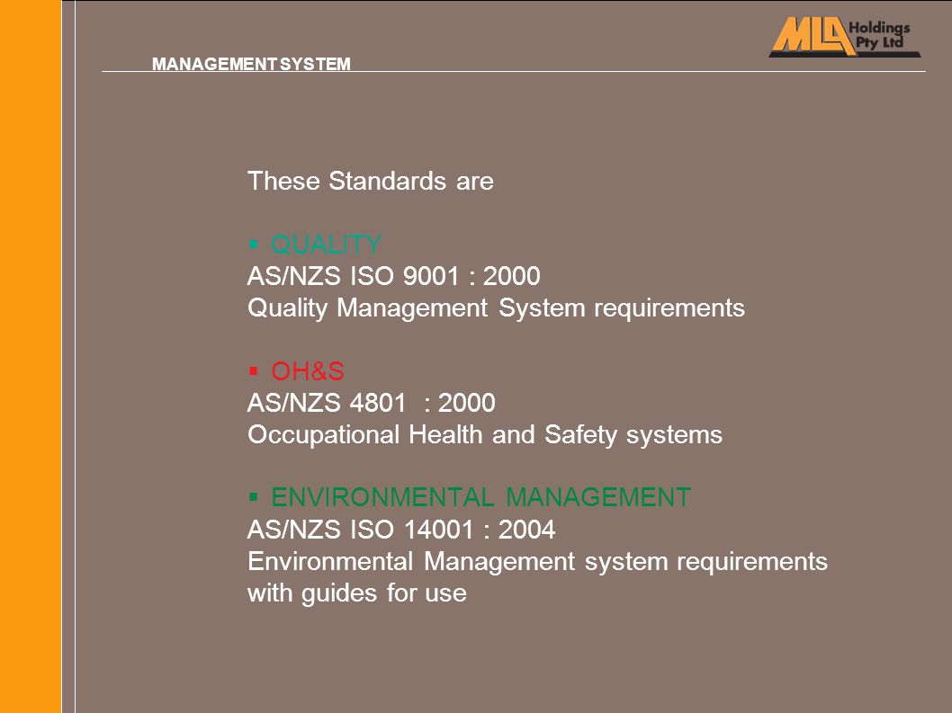 Quality Management System requirements OH&S AS/NZS 4801 : 2000