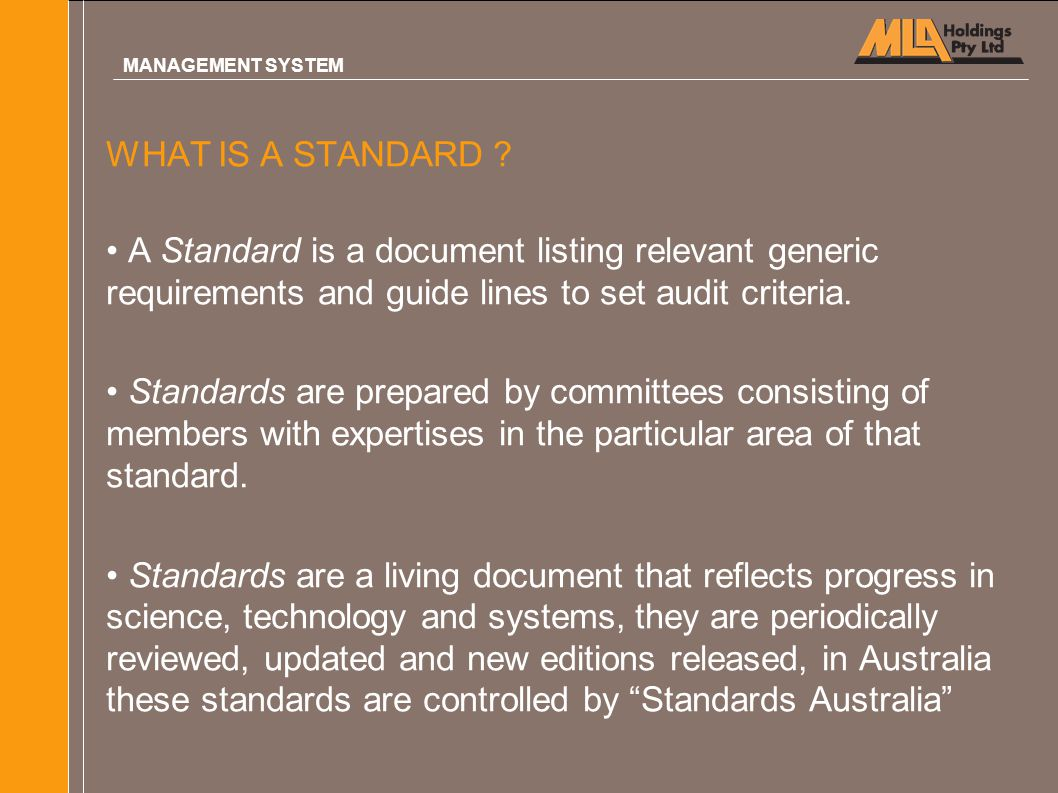 MANAGEMENT SYSTEM WHAT IS A STANDARD