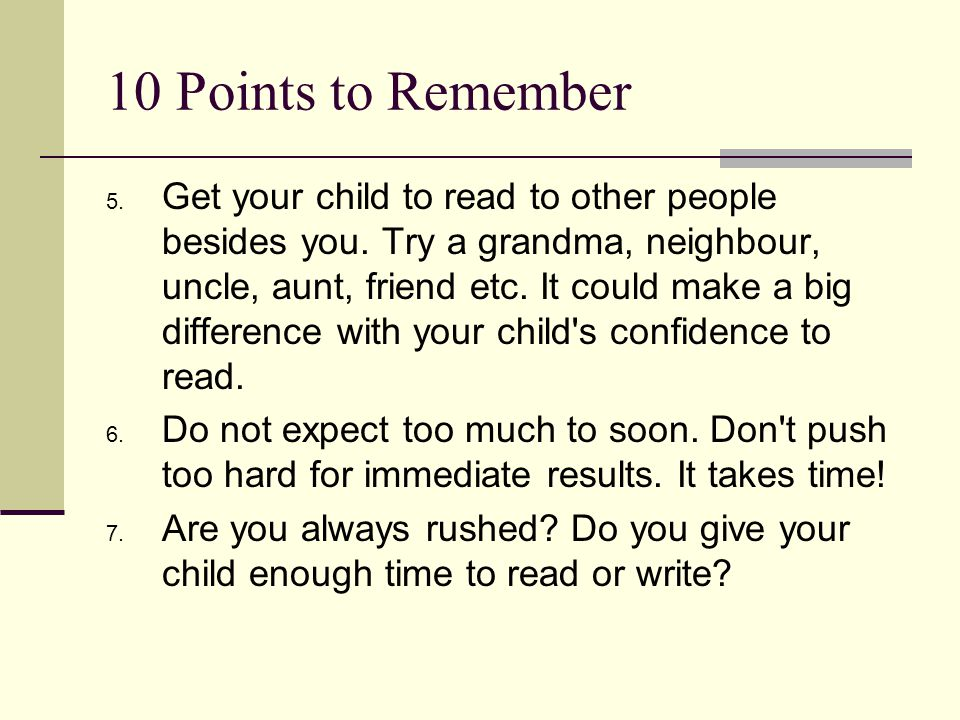 10 Points to Remember